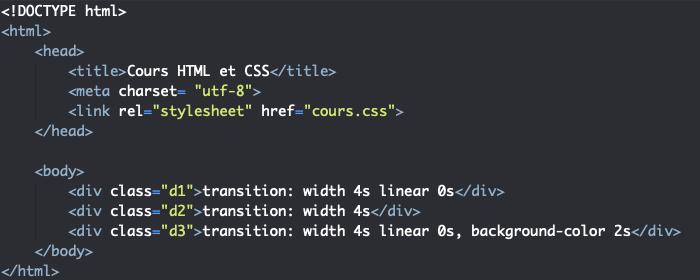Support HTML pour exemple d'utilisation de la propriété CSS transition