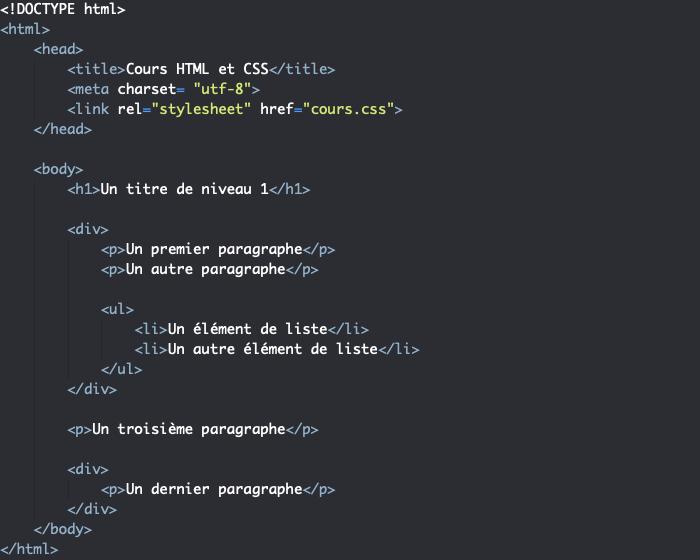 Exemple d'utilisation d'un élément div en HTML