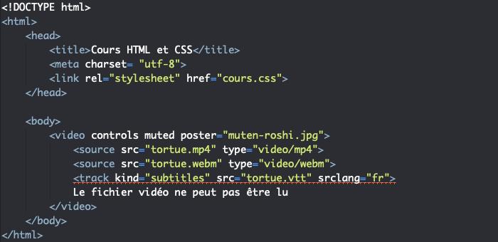 Insertion d'une video avec sous titres en HTML