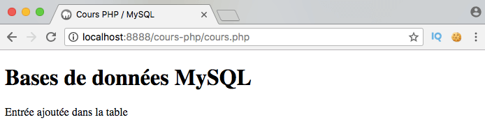 On utilise insert into pour insérer une entrée dans la base de données avec PDO en PHP