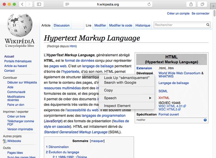 Pour voir le code HTML d'une page, il suffit d'inspecter la page