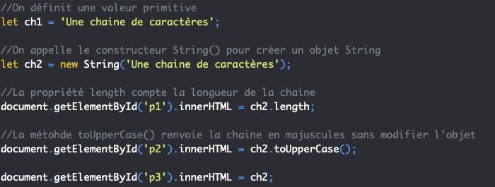 On accède aux propriétés et méthodes du constructeur String depuis nos objets string en JavaScript