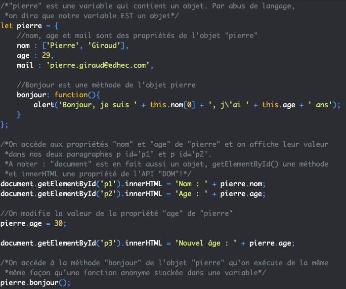 On accède on on modifie les propriétés d'un objet avec l'opérateur point en JavaScript
