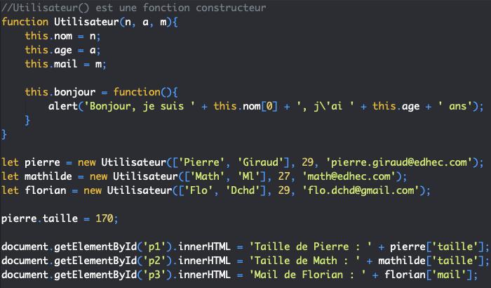 On ajoute des propriétés et des méthodes à un objet après sa création en JavaScript
