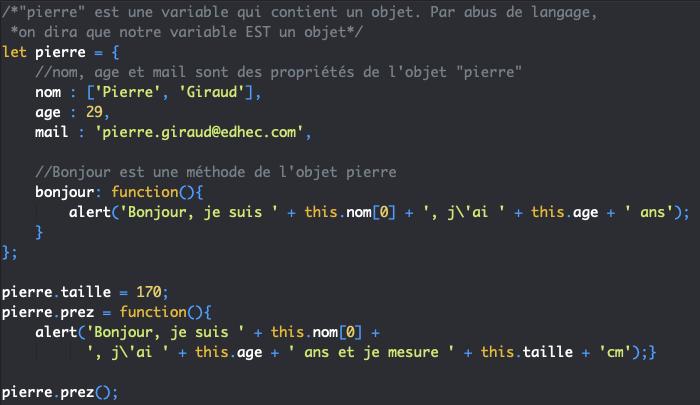 Ajouter des propriétés et des méthodes à un objet littéral en JavaScript