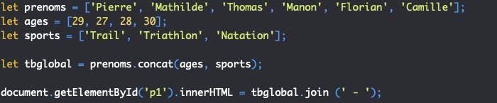 Présentation de la méthode concat de l'objet JavaScript Array