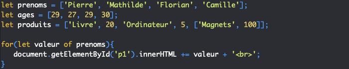On peut utiliser une boucle for of pour récupérer toutes les valeurs d'un tableau d'un coup en JavaScript