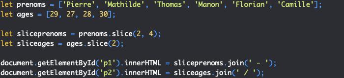 Présentation de la méthode slice de l'objet JavaScript Array