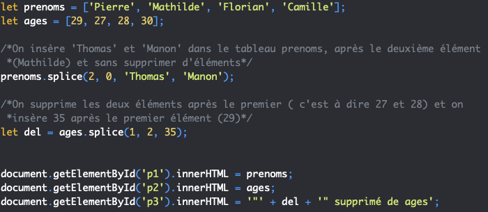 Présentation de la méthode splice de l'objet JavaScript Array