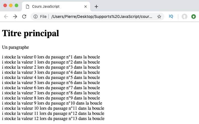 Résultat exemple d'utilisation de l'instruction break avec une boucle for JavaScript