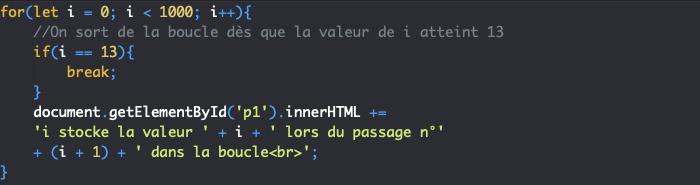 Utilisation de l'instruction break avec une boucle for JavaScript