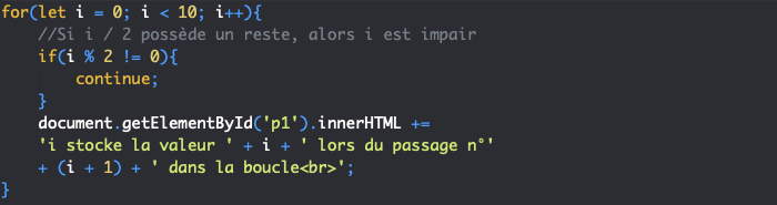 Utilisation de l'instruction continue avec une boucle for JavaScript