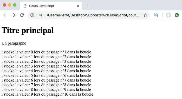 Exemple d'utilisation de la boucle for JavaScript