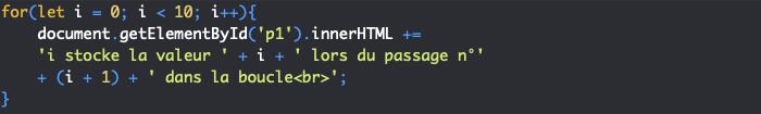 Support HTML pour exemple d'utilisation de la boucle for JavaScript