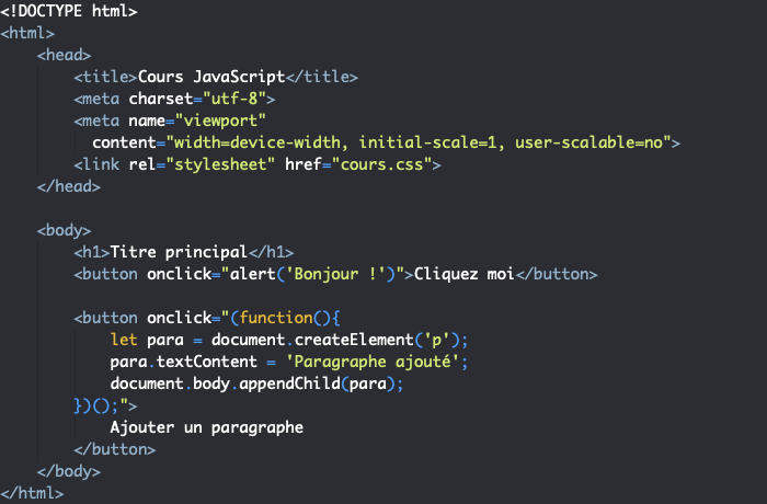 On peut écrire le code JavaScript dans la balise ouvrante des éléments HTML