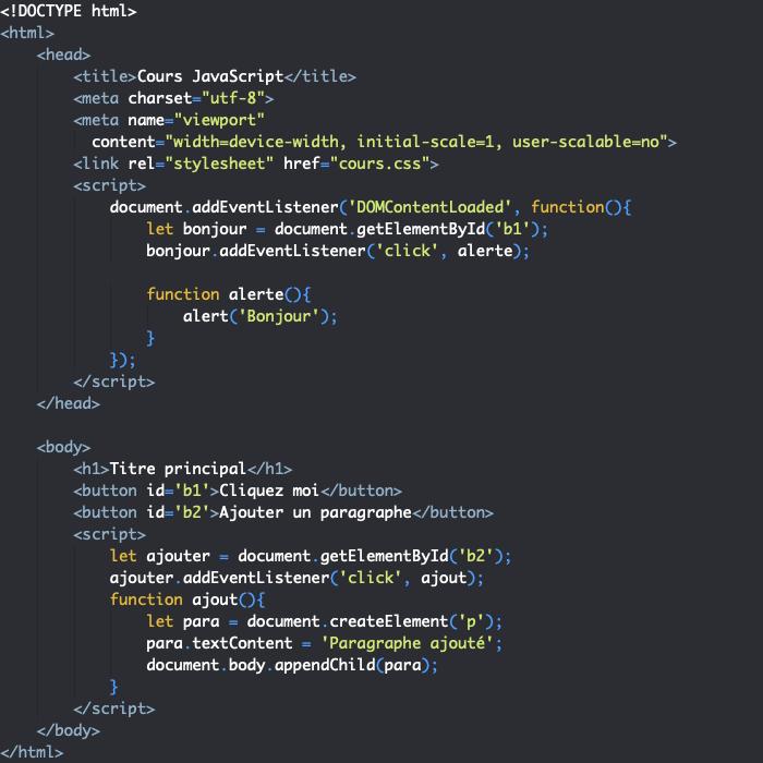 On peut écrire le code JavaScript au sein d'un élément HTML script