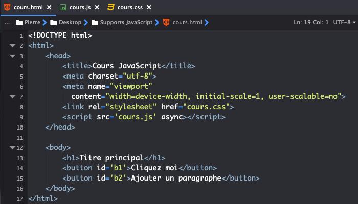 On peut écrire le code JavaScript dans un fichier séparé et inclure ce fichier dans notre fichier HTML