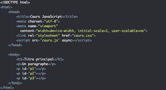 Page support HTML pour présentation de l'opérateur de concaténation JavaScript