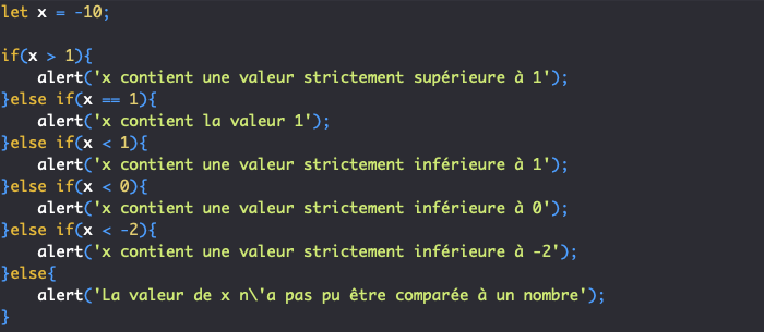 Utilisation d'une condition if else if else avec de multiples else if en JavaScript
