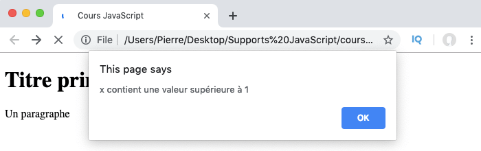 Exemple d'utilisation de la condition if en JavaScript