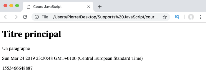 On utilise le constructeur date et la méthode now pour récupérer la date courante en JavaScript
