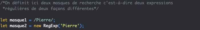 Exemple de définition d'une expression régulière en JavaScript et utilisation de new RegExp