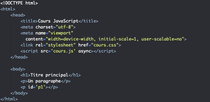 Support HTML pour présentation de l'orienté objet en JavaScript
