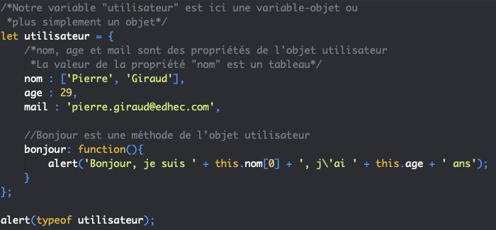 Présentation de l'orienté objet en JavaScript et création d'un premier objet