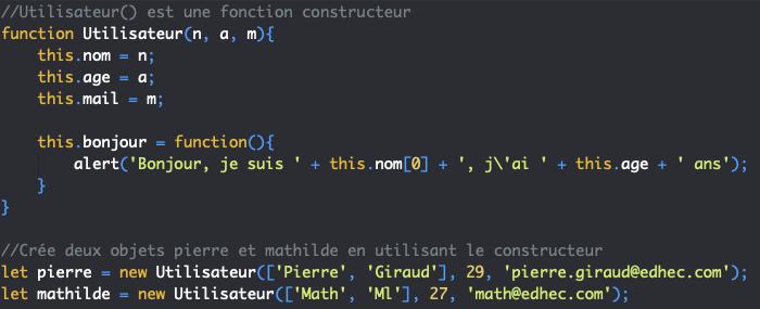 On utilise un constructeur pour créer plusieurs objets semblables en JavaScript