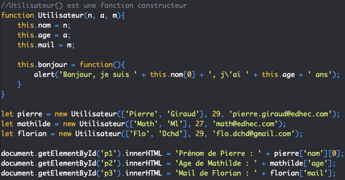 En utilisant un constructeur, on peut créer autant d'objets similaires qu'on le souhaite