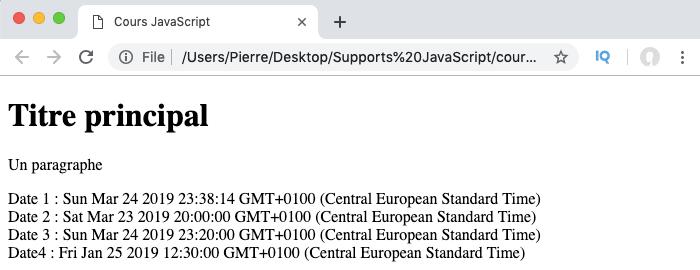 On crée un objet de type date en JavaScript avec le constructeur Date