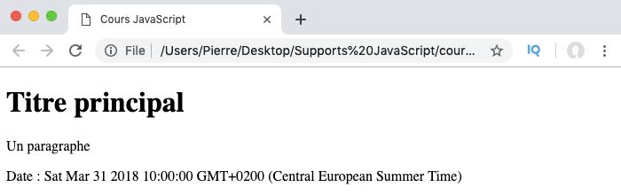 Exemple d'utilisation des méthodes setters de l'objet Date en JavaScript