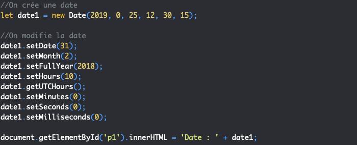 Présentation des setters de l'objet Date pour définir une date en JavaScript