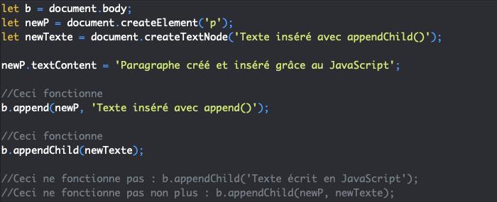 Présentation de la méthode JavaScript appendChild pour insérer un noeud dans le DOM