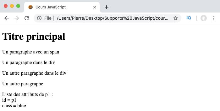 On récupère la liste des attributs d'un élément avec la propriété JavaScript attributes
