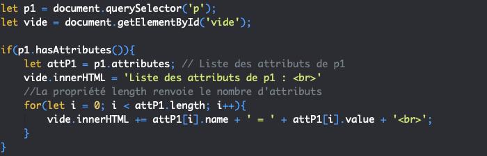 Présentation de la propriété JavaScript DOM attributes