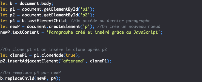 On peut cloner un noeud du DOM avec la méthode JavaScript cloneNode