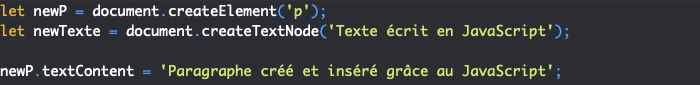 On crée un noeud DOM texte avec la méthode JavaScript createTextNode