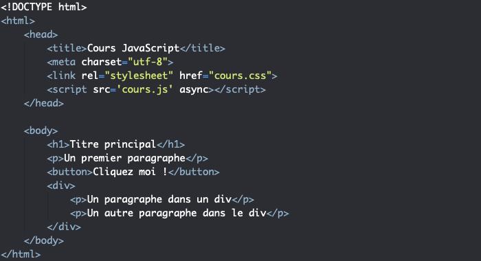 Code HTML support pour présentation des propriétés de gestion d'évènements JavaScript