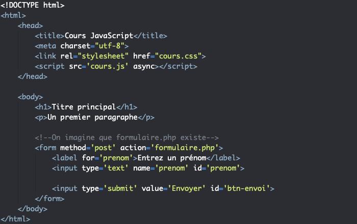 Code support HTML pour présentation de la méthode JavaScript preventDefault