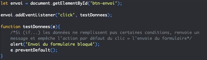 Présentation de la méthode JavaScript preventDefault qui annule le comportement par défaut d'un évènement