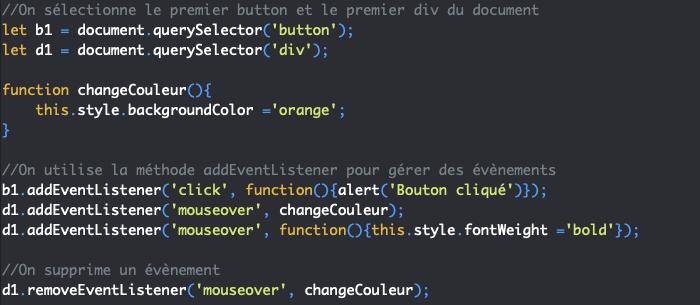 On utilise la méthode removeEventListener pour supprimer un gestionnaire d'évènements en JavaScript