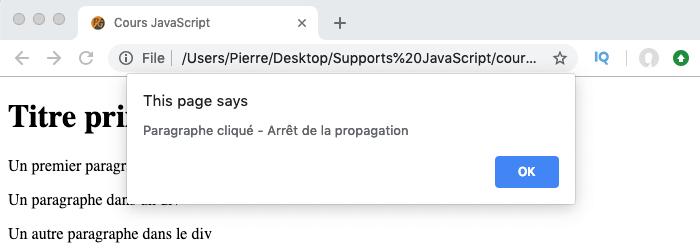 Exemple d'utilisation de stopPropagation en JavaScript pour empêcher à un évènement de se propager dans l'arbre DOM