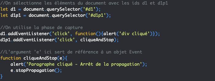 Présentation de la méthode JavaScript stopPropagation qui empêche à un évènement de se propager