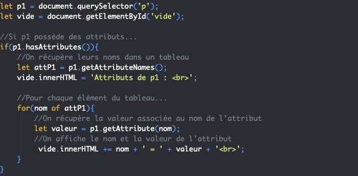 Présentation des méthodes JavaScript DOM getAttributeNames et getAttribute