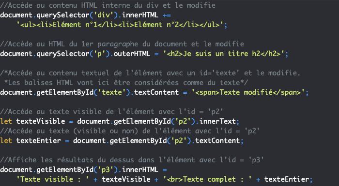 Présentation des propriétés innerHTML outerHTML textContent et innerText en JavaScript DOM