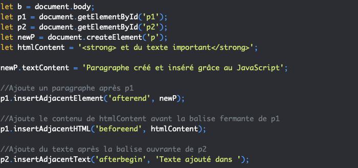 Présentation des méthodes JavaScript insertadjacentelement insertadjacenttext et insertadjacenthtml pour insérer un noeud dans le DOM