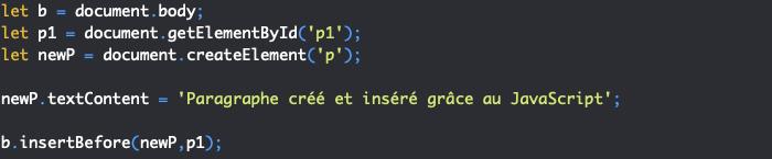 Présentation de la méthode JavaScript insertBefore pour insérer un noeud dans le DOM