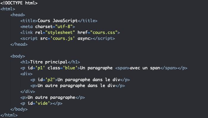 Code HTML support pour manipulation des attributs et des styles des éléments en utilisant le DOM en JavaScript