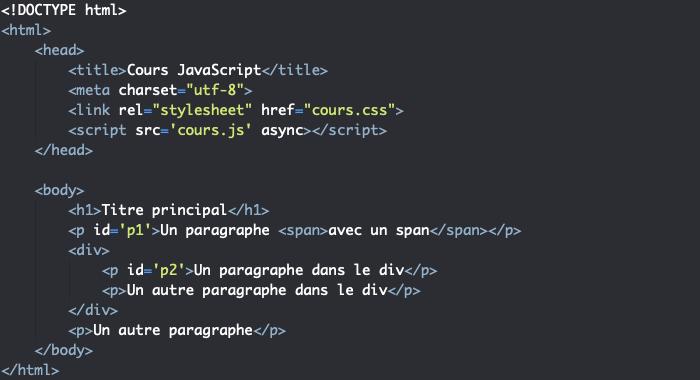 Code HTML support pour présentation des propriétés JavaScript permettant d'accéder à un noeud du DOM